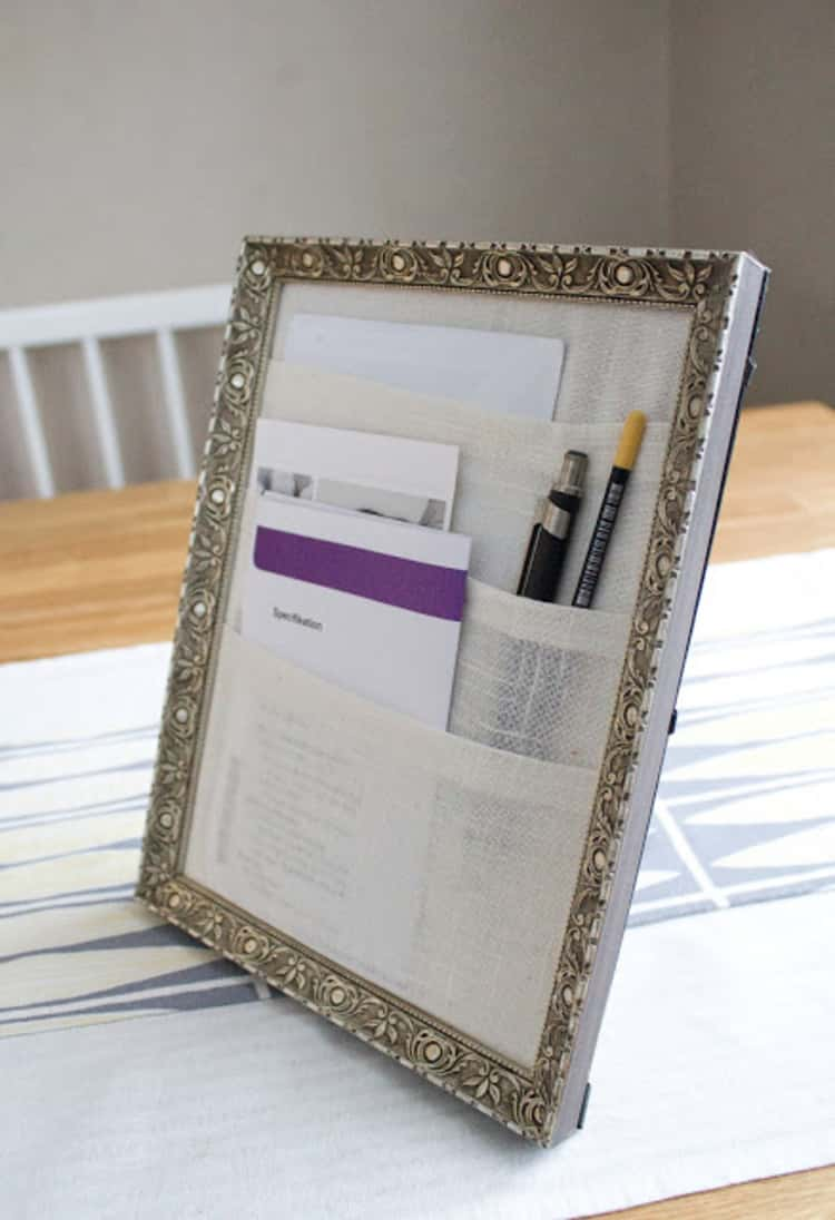Desk organizer for your working space from a picture frame