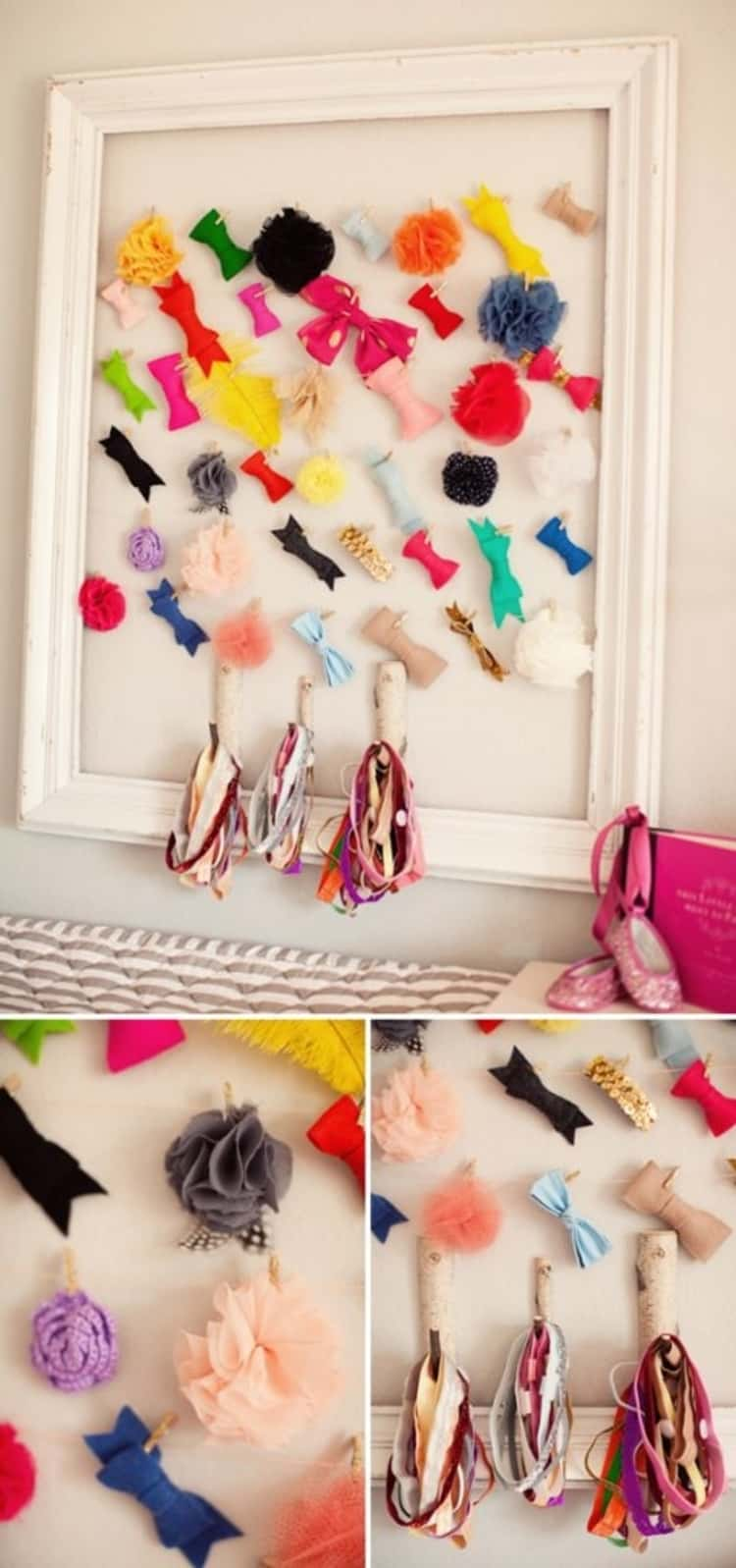 Picture frame hair clips and hair bands holder