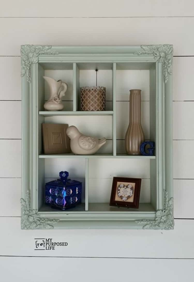 repurposed picture frame shadow box