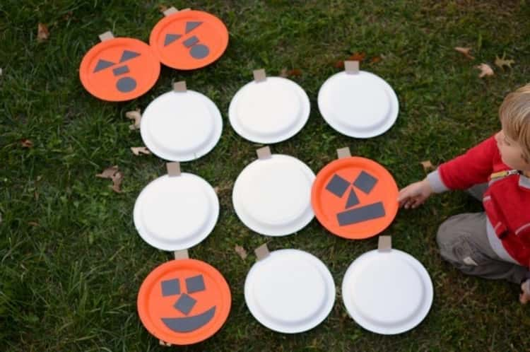 orange plates, and construction paper for use in a life-sized memory Halloween game