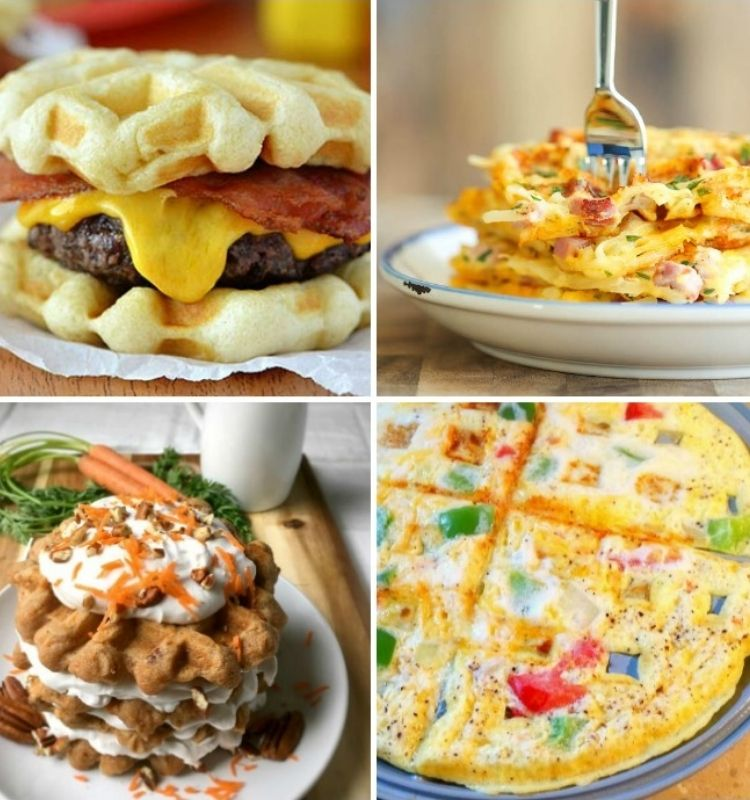 bacon cheeseburger with waffle bun ham egg and cheese wafflewich carrot cake waffle stack and waffle iron omelet
