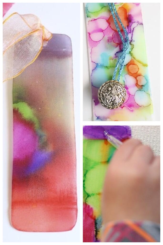 Make tie dye art - process for book marks using rubbing alchohol