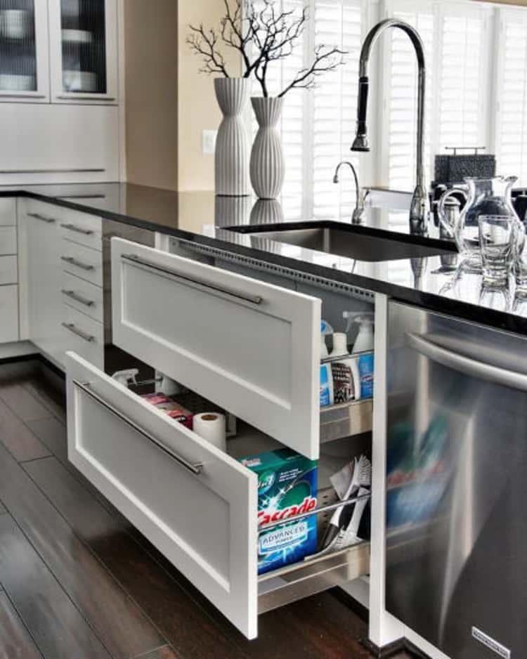 Unconventional kitchen under sink storage drawers