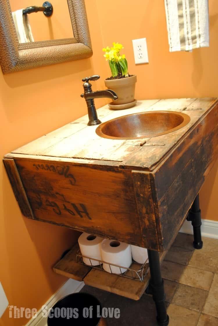 Under sink rustic floating board storage idea