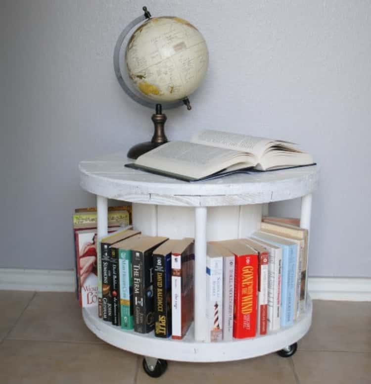 wooden spool bookcase