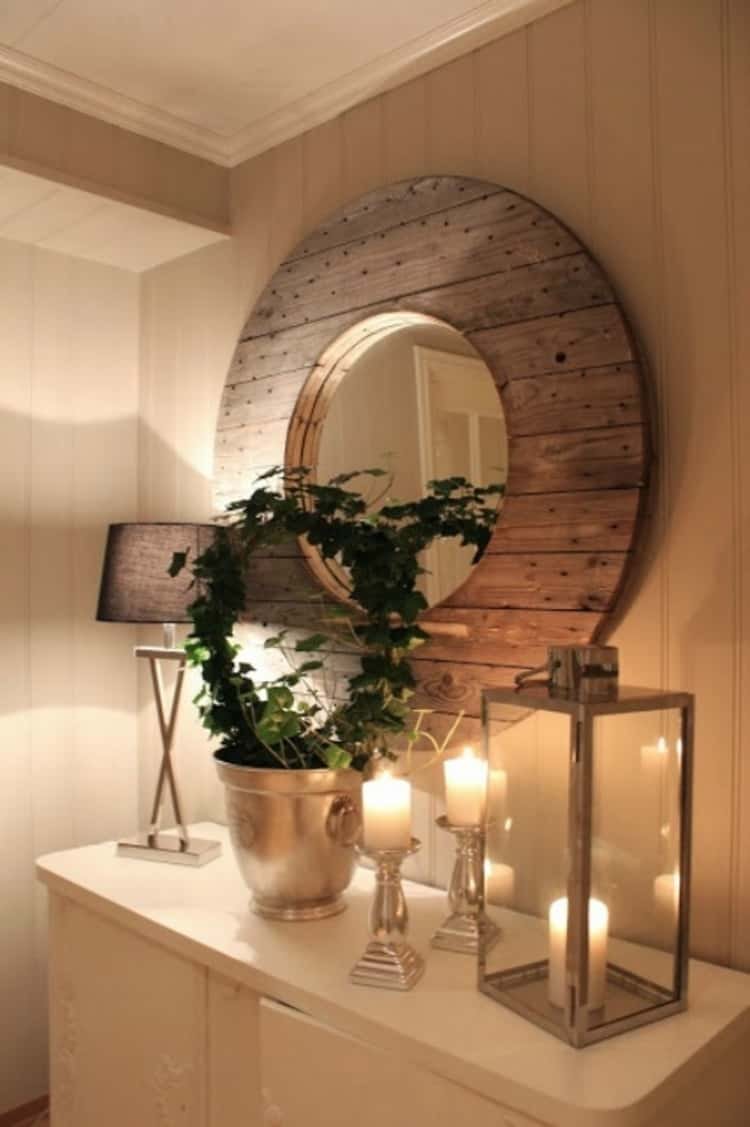 wooden spool mirror