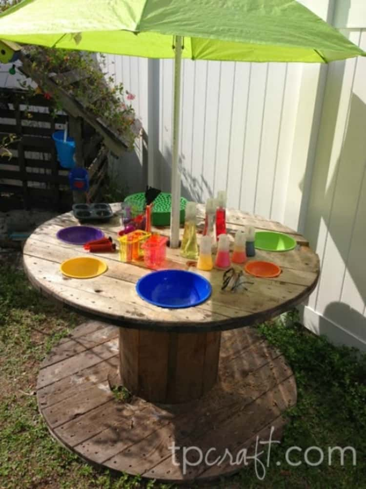 wooden spool outdoor lab for kids