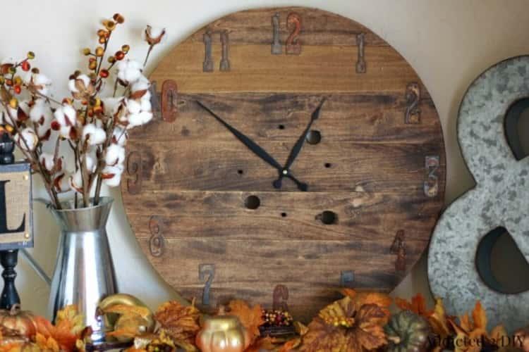 wooden spool rustic clock