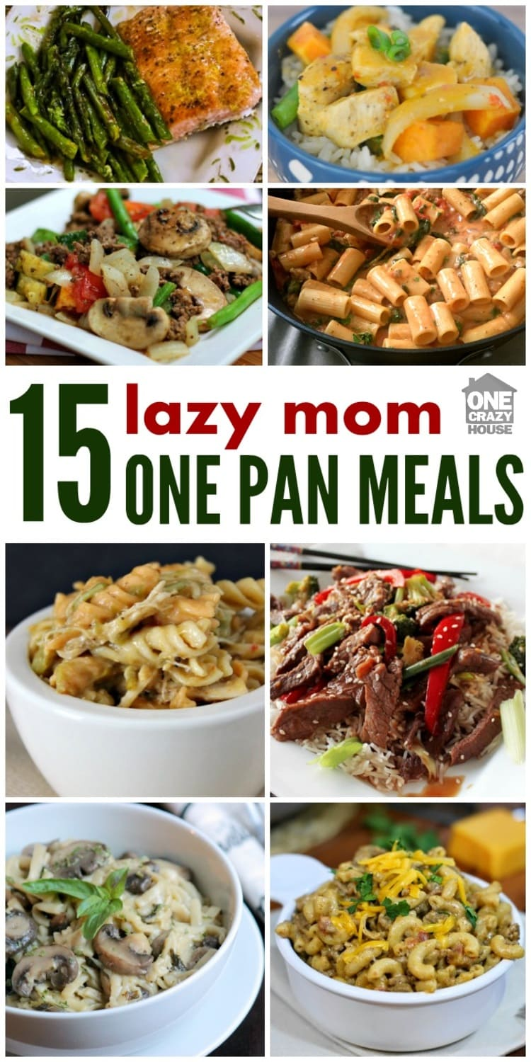 Every mom has days where she wants a good dinner with little clean-up. These one-pan recipes are just the answer for your busiest, or laziest nights. Photo collage of different meals