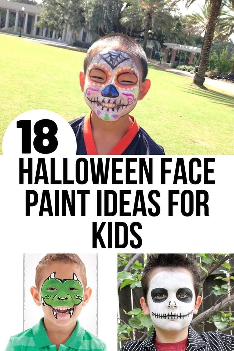 Halloween face paint ideas collage day of the dead, dragon and nightmare before christmas