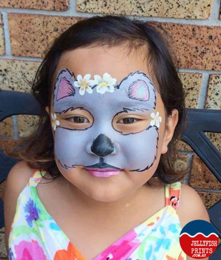 girl with Koala face paint