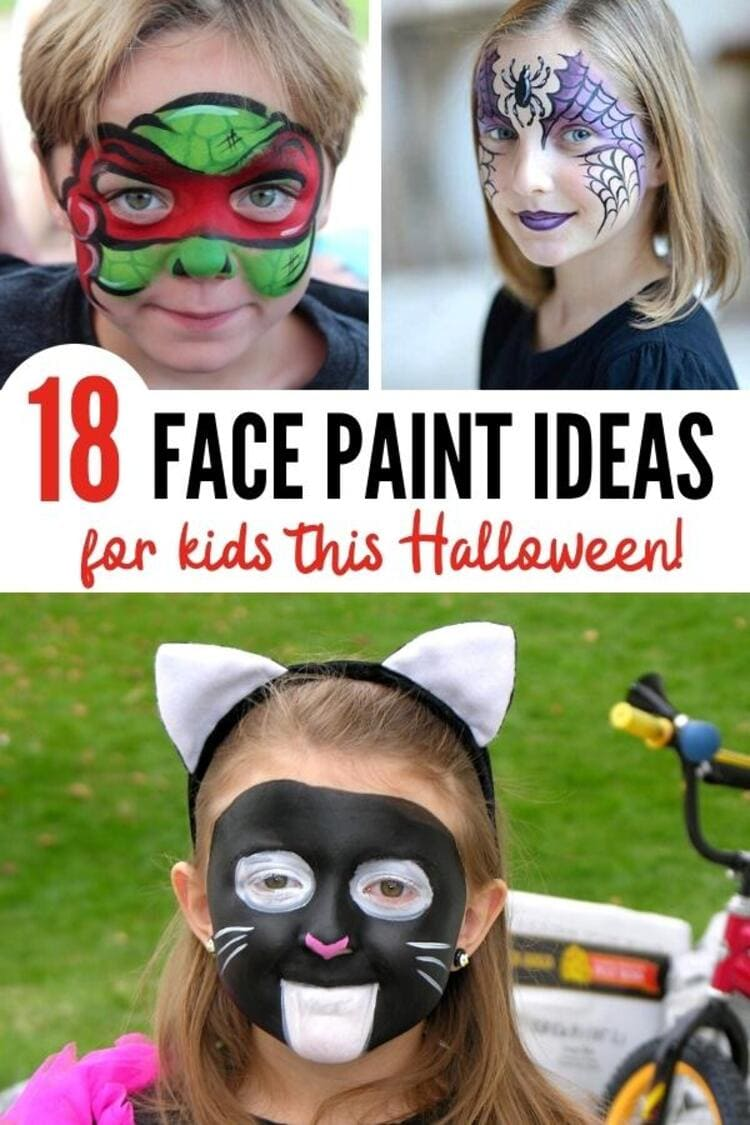 18 face paint ideas for kids this halloween collage teenage mutant turtle, purple and black spider on a girl's face, black cat