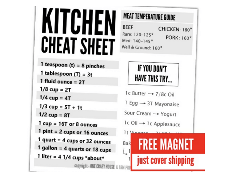 Send away for a helpful kitchen cheat sheet for measurements. Just cover shipping costs