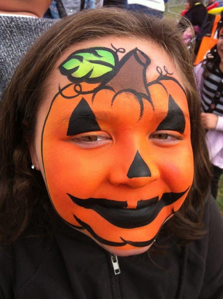 jack-o-lantern Halloween face paint idea