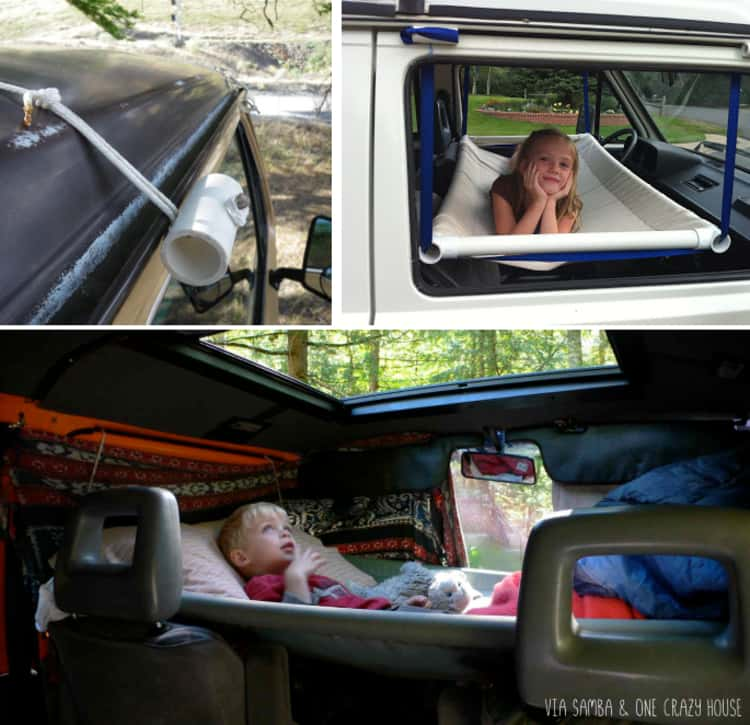 A collage of a car hammock made from fabric and PVC pipes
