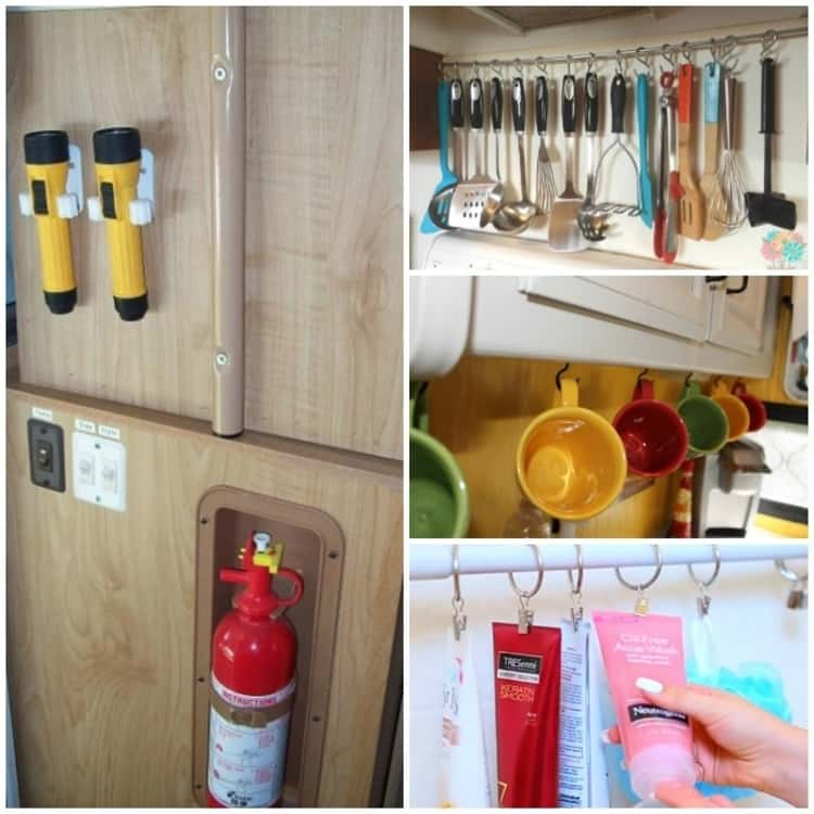 A collage showing broom holders used to hold flashlights, utensils handing from a dowel on s-hooks, coffee mugs hanging from hooks under the kitchen cabinet and shower products hanging from a shower curtain rod.