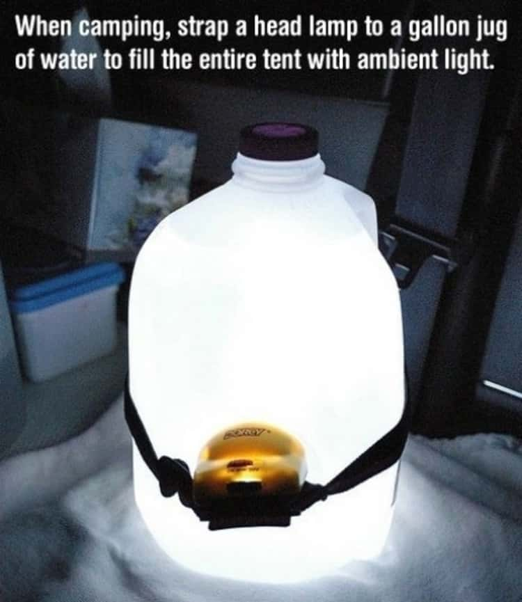 Gallon water jug with a headlamp to create ambient light