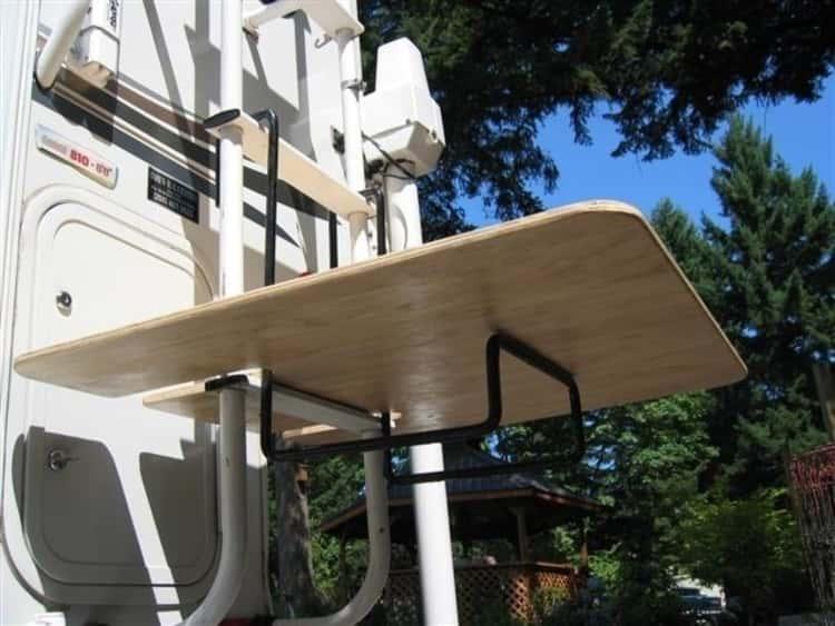DIY Ladder-mounted RV table