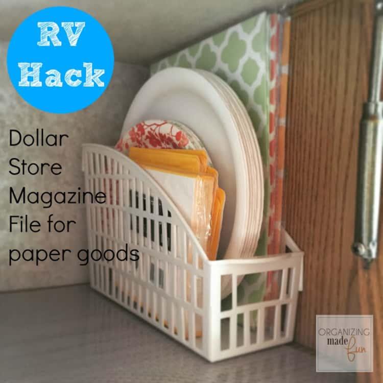 plastic magazine holder storing various paper plates and napkins