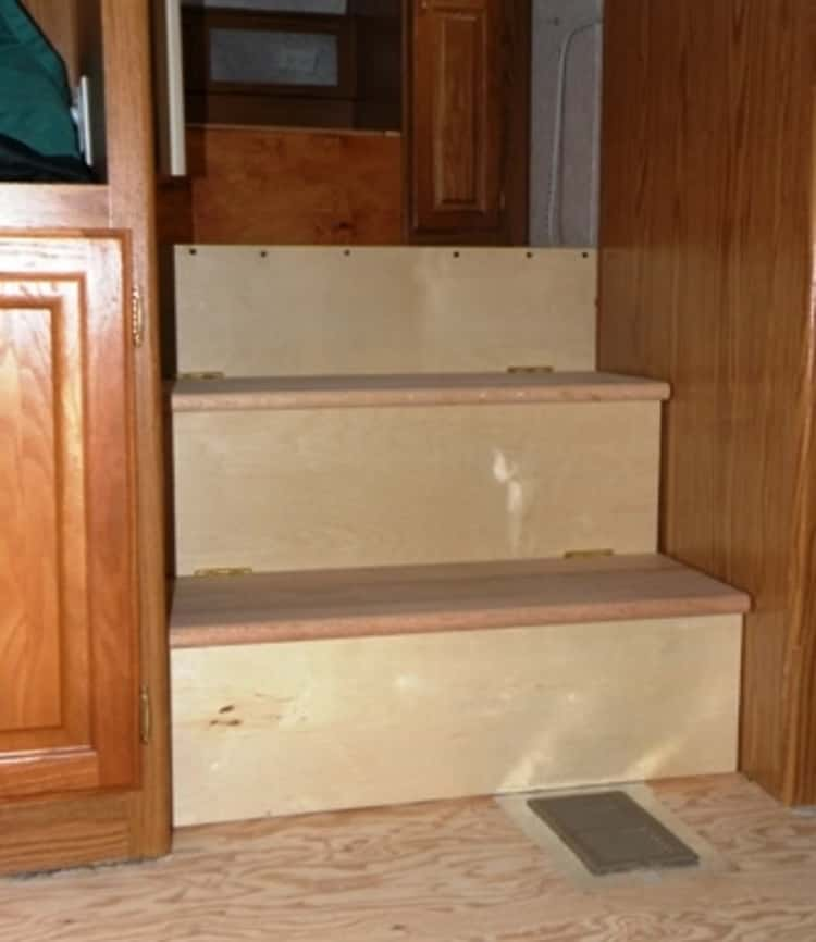 RV living- hacked stairs for storage