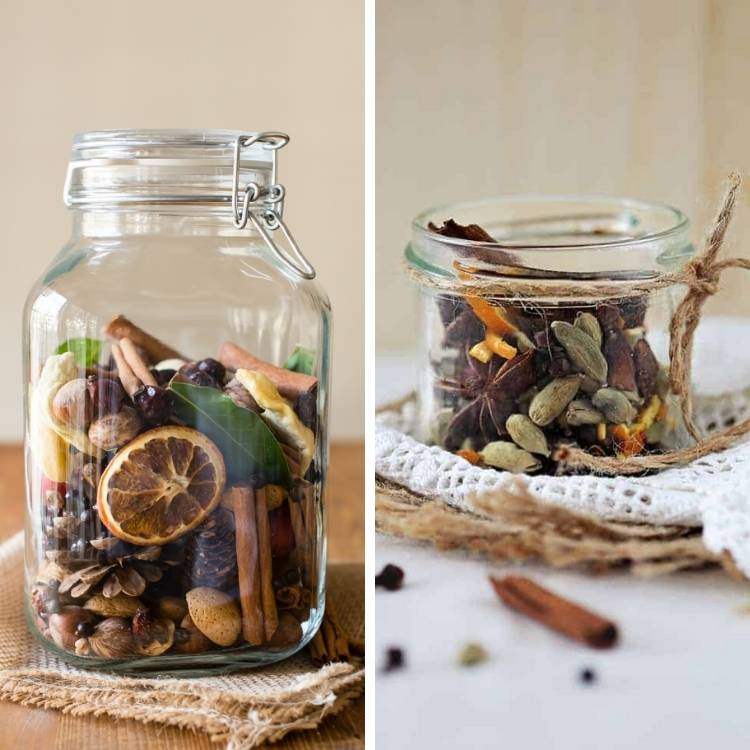 fall scents in glass jars