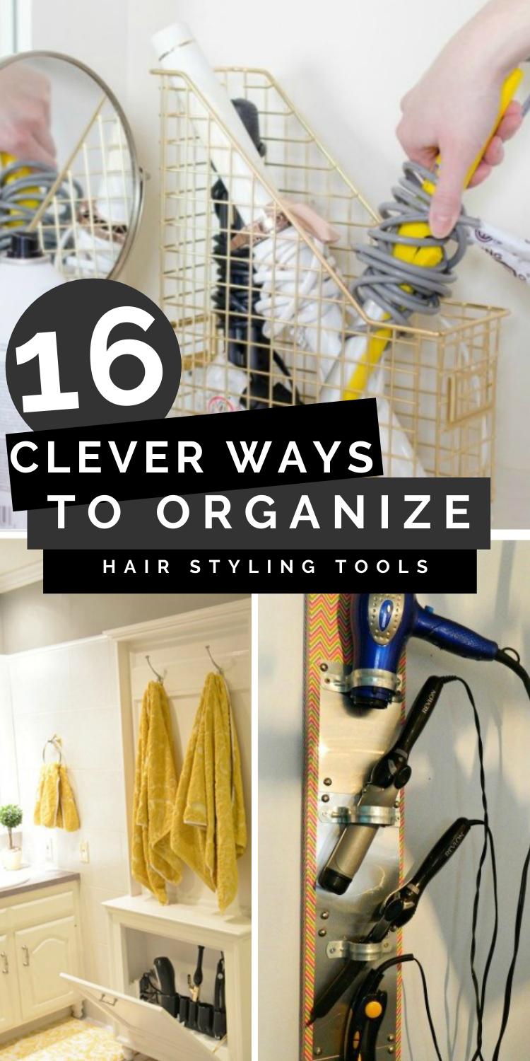 clevery ways to organize hair styling tools pinterest image