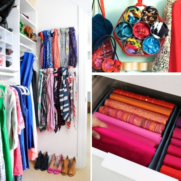 Scaves organized in fun and cool different ways in the closet and more